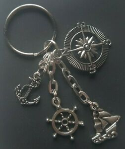 Sailing-Boating-Yachting Themed Keyring With Anchor-Wheel-Boat-Compass Charms