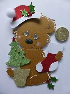 4 Large Christmas Tree Bear & Stocking 3D Handmade Card Toppers Nan Grandma Mum