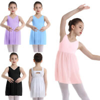 Kids Girl Ballet Tutu Dress Sleeveless Leotard Dress Ballerina Dancewear Costume