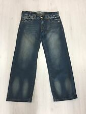"Da Uomo Bench Relaxed Fit Blu Scolorito/Sbiancato Jeans w30 gamba corta I' 28.5"""
