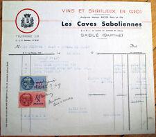Wine & Liqueur/Liquor 1949 Letterhead: Caves Saboliennes - Sable, Sarthe, France
