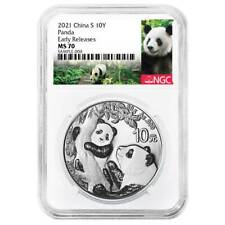 2021 10 Yuan Silver China Panda Ngc Ms70 Panda Er Label
