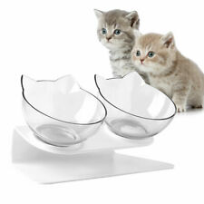Cat Feeder Double Bowl Dog Elevated Stand Dish Food Water Feeding Container