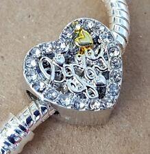 Openwork Love You Heart Crystal Rhinestone European Bead Gift fit Charm Bracelet