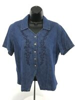 Classic Elements Denim Short Sleeve Shirt Womens M Floral Embroidered Notched