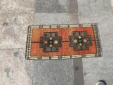 Orange Small Rug, Door Mat, Turkish Small Rug, Handmade Rug, Decorative Wool Rug