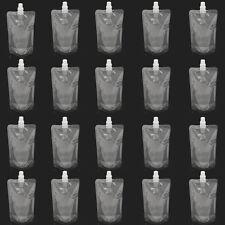 20X 250ML 8Oz Clear Plastic Spout Flask Bladder Bags Pouch Leak Proof w/ Cap