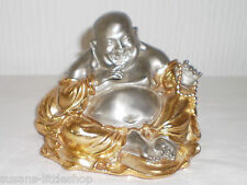 Lucky Good Luck Laughing Gold and Silver Pewter Buddha Statue Figurine Ornament