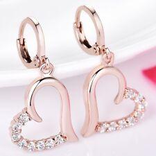 Womens Charms Heart 18K Rose Gold Filled White Topaz Dangle Leverback Earrings