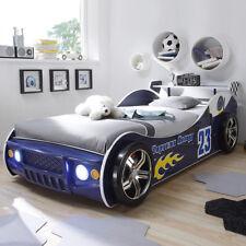 Autobett Energy Kinderbett Kinderzimmer Rennwagen blau lackiert mit Beleuchtung
