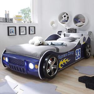 Autobett Jugendbett Kinderbett Bett Energy Kinderzimmer blau Beleuchtung