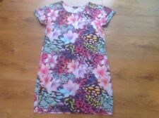 Women's Floral Printed Tunic/Dress In Pinks & Purples Size 12 F&F