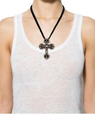 CHROME HEARTS Large Cross With Braided Leather Necklace!