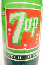 vintage ACL Soda Bottle: FULL bottle of 7-UP - old style - 7 OZ VINTAGE ACL