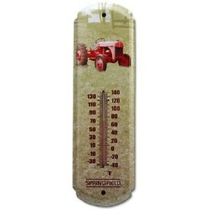 "NEW SPRINGFIELD 98210 17"" METAL RED TRACTOR INDOOR OUTDOOR THERMOMETER 2783983"