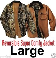 Men Workwear Hunting Outdoor Reversible Casual Wear Sport Camo Jacket Large
