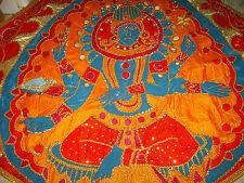 "Vintage HAND MADE Jeweled-Satin Lined MARDI GRAS CAPE Lord Shiva 8'.5"" X 6'.5"""