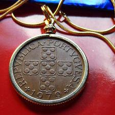 "28MM Artistic Portuguese Escutcheon Cross Coin Pendant on 24"" Golden Snake Chain"