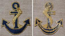 Patch Aufbügler als Anker blau mit goldenfarbenem Tau Größe ca. 6x7 cm / Maritim