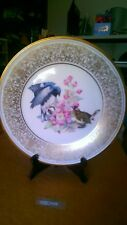 "Vintage Collectible Lenox Black Throated Blue Warbler plate. 10.5"" w/Gold trim"