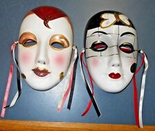VINTAGE TWO OLD CLAY ART ASAHI MASKS WALL DECORATION MARDI GRAS CELEBRATIONS