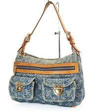 Authentic LOUIS VUITTON Baggy PM Blue Denim Shoulder Tote Bag Purse #37457