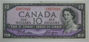 1954 BANK OF CANADA TEN DOLLARS BC-40a V/D 3977016 BEATTIE COYNE NOTE
