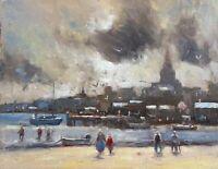 "Afternoon Beach Contre Jour Original  Bill McLane New Oil Canvas Board 11'x14."""