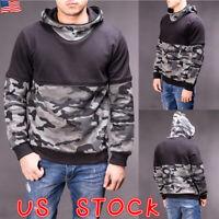Mens Camouflage Camo Hoodie Sweatshirt Men Hooded Jumper Pullover Tops Outwear