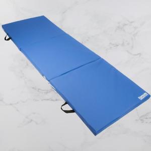 Tri Folding Yoga Exercise Mat Pilates Gym Crash Workout Home Training Blue