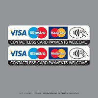 Contactless Credit Card Payments Stickers Taxi Shop VISA Mastercard SKU2511