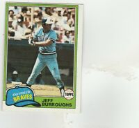 FREE SHIPPING-MINT-1981 Topps Atlanta Braves Baseball Card #20 Jeff Burroughs
