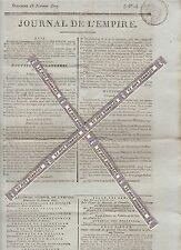 Journal de l'Empire du Dimanche 18 Janvier 1807. Imprimerie Le Normant.