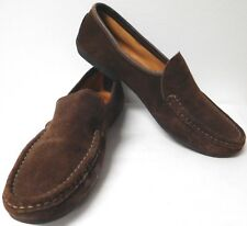 THE TOG SHOP ITALY BROWN SUEDE SLIP-ON CAR SHOES LOAFERS NUBBY RUBBER SOLE 8.5 M
