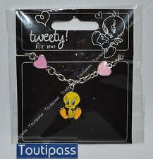 TITI Warner Bros bracelet métal breloque Tweety et coeurs roses