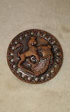 Vintage metal Collectible Sewing Button Lion Scene Picture Rare