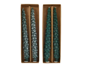 2 x CHRISTMAS TREE DESIGN TAPERED DINNER PARTY CANDLES XMAS TREE - SNOWY / FROST