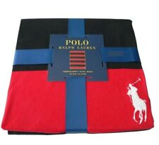 "Ralph Lauren Large Pony and Black and Red Stripes, Throw Blanket 50"" x 70"""