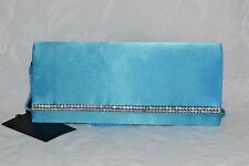JNS Plain Satin Crystal Clutch Bag Magnet Opening Shoulder Strap Cruise Prom NEW