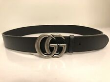 """NEW GUCCI LUXURY DOUBLE G SILVER BUCKLE BLACK LEATHER BELT 90CM/32"""""""