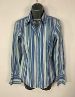 WOMENS THOMAS PINK SIZE UK 8 BLUE STRIPE FITTED SMART/FORMAL LONG SLEEVE SHIRT