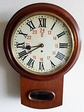 Antique Fusee Wall Clock 8 Day Station Clock 12'' Dial Mahogany Key Brass