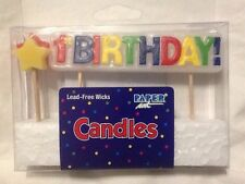 1st Birthday Candle Set Toothpick With Stars Lead Free Wicks Colorful