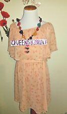New Love 21 Womens size M orange floral sleeveless dress medium belt Forever 21