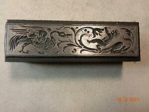 Printing Letterpress Printer Block Art Nouveau Cherub & Bird Print Cut