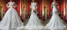 Vintage Lace Long Sleeve Detachable Skirt Wedding Dress Bridal Gown Custom Size