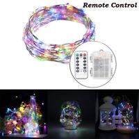 Micro Draht Lichterkette mit Fernbedienung und Timer - 5M 50 LED RGB De