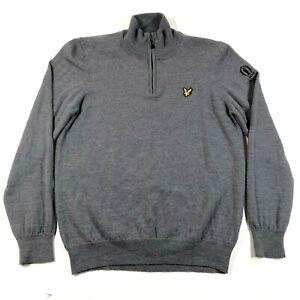 The Open Lyle & Scott Sweater Jumper Boys L Gray 1/4 Zip Wool 147th Carnoustie