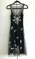 Monsoon-Womens Floral Mesh Detail Fit & Flare Dress in Black Mix/Size: UK 8/Used