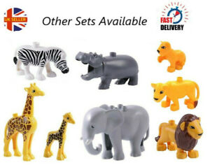 BN Set of 8 Compatible with Duplo Safari Jungle Animals Elephant, Giraffe, Zebra